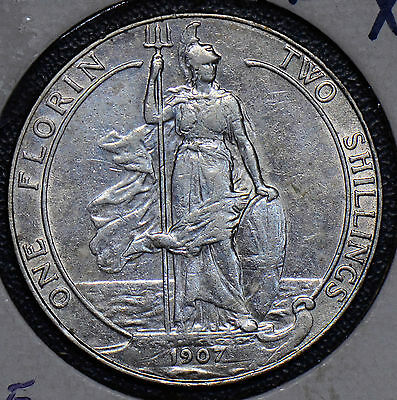 GR0237 Great Britain 1907 2 Shillings silver  combine shipping