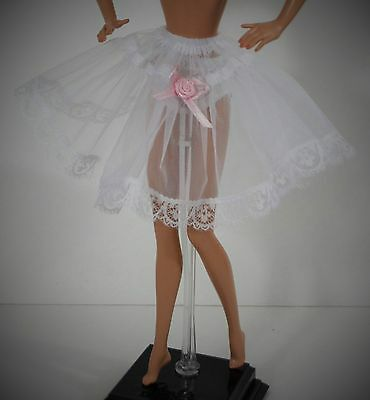 Barbie Doll Clothes Half Crinoline With Pink Flower Design, Handmade Accessories