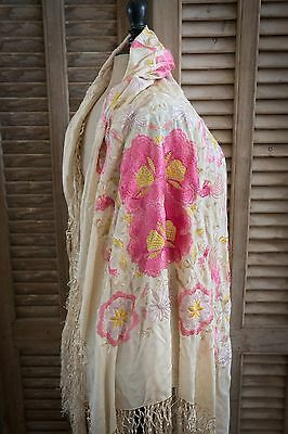 Antique Piano Shawl Silk Pink Embroidered Flowers Fringe VTG 20s Canton
