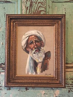Vintage Portrait Signed Canvas Painting Man Iran Iranian Wood Framed