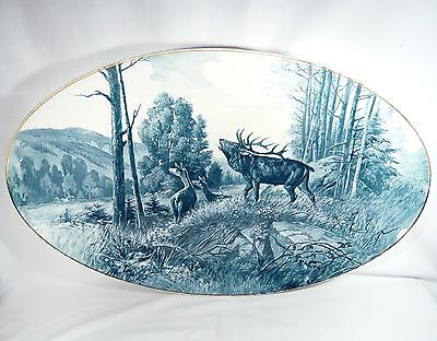 32 inch HUGE Rare Antique Villeroy & Boch Wall Plaque China Red Deer / Elk Tray