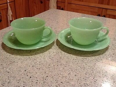 2 Vintage Sets of Fire-King Jadeite Alice Pattern Cup and Saucers