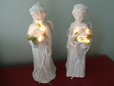 Pair of Beautiful White Porcelain/Bisque Christmas Angels with Lighted Bouquets