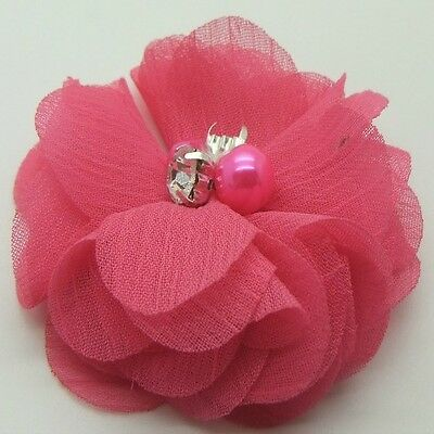 Hot Pink Chiffon Flower with Bead Centre x 2 RNB
