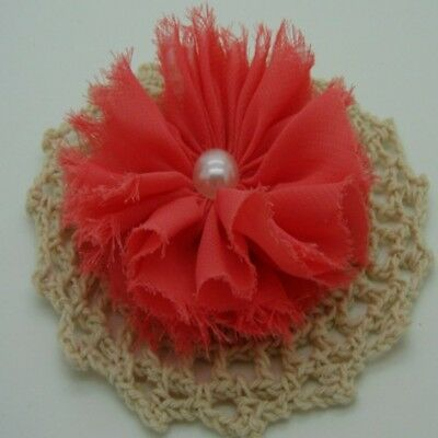 Dark Coral Chiffon Flower with Pearl  Centre x 1 RNB