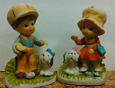 Homco  Little Boy And Girl With Puppies Figurines no. 1430
