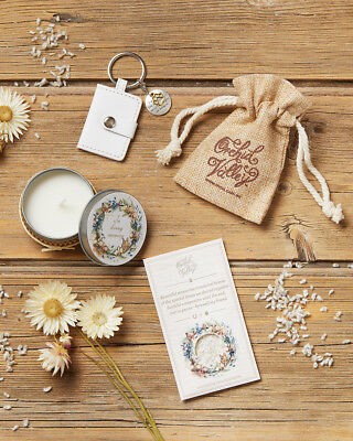 Pet loss sympathy gift set including memorial candle, photo keychain & seed card