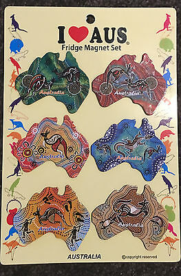 2pk Australian Souvenir Fridge Magnets Maps Abioriginal  Assorted Design 12PC