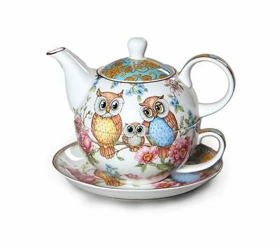 New Owls Tea For One Owl Teapot w Cup in One set Fine Bone China Xmas Gift