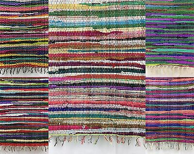 Handwoven Vintage Rug Indoor Rug Shabby Chic Rag Rug Home Floor Décor100% Cotton