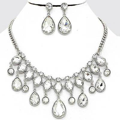 Chunky Clear Crystal Silver Chain Necklace Earring Set Fashion Costume Jewelry