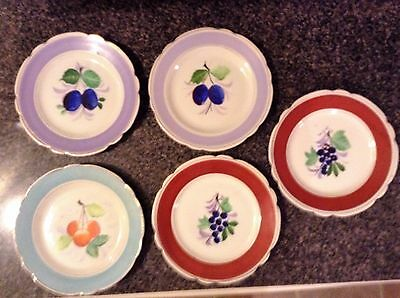 5 Hand Painted Plates - Various Fruits 7 Inch Plates