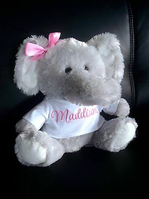 Personalised Elephant Toy 26cm sit Any Name Baby Gift or Birthday Get Well Gift