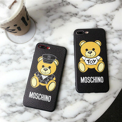 Cute Teddy Bear Toy Strap Black Leather Letter Soft Case Cover for iPhone 8 7 6S