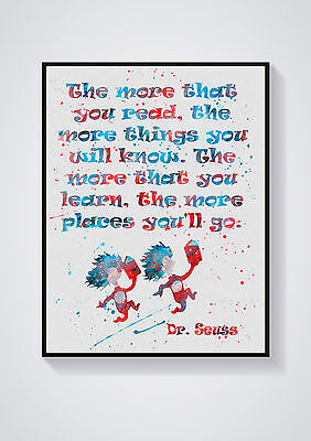 "Watercolour Dr. Suess Wall Print Various Styles Sizes 10"" x 8"", A4, A3"