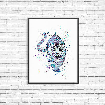 Watercolour Tiger Wall Print - Nursery Bedroom Various Sizes A6, 10x8, A4, A3