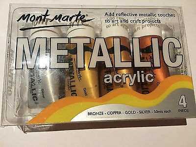 4pc Mont Marte Metallic Paint Acrylic Arts Painting Silver Gold Copper Bronze