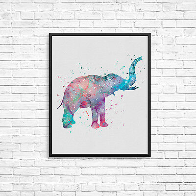 Watercolour Elphant Wall Print -Nursery Bedroom Various Sizes  10x8, A4, A3