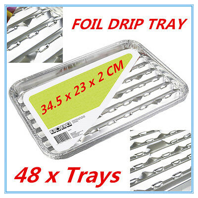 48pk Foil Roasting BBQ Baking Grill Tray Drip Tray w/h Oil Dripping Aperture FW