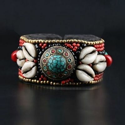 Collectibles Decorated Handwork Tibet Red Coral Armor Turquoise Bracelet