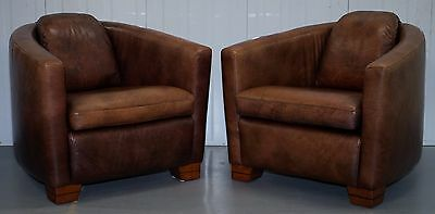 Pair Of Rrp £2182 Aged Brown Vintage Leather Rocket Armchairs Cushion Base Halo