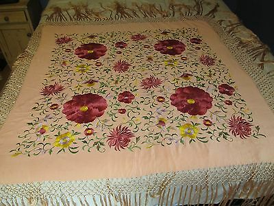 "Gorgeous! Antique CHINESE CANTON SILK SHAWL 47"" x 47"" Scarf Embroidered Flowers"