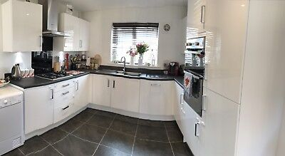 White Gloss Kitchen Cupboard Doors With Handles And Dark Work Surface