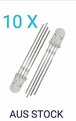 5mm Round Head Common Anode RGB Diffused Light LED Emitting Diodes 10 PCS.