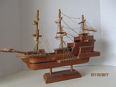 Large Rare Old Antique Wood Model Ship, Possibly Hand Made!