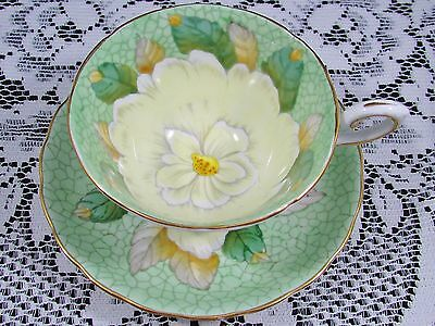 Tuscan Hand Painted Beaded Gardenia Green Tea Cup And Saucer