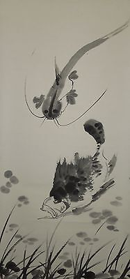 Hanging Scroll Chinese Painting Apparition Fish Ink Picture Antique China a03