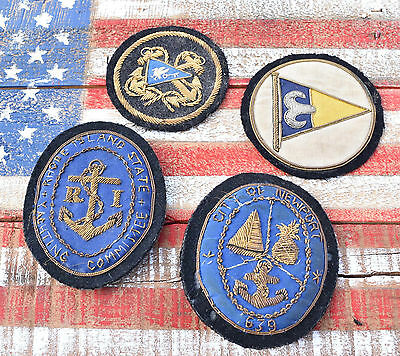 Antique Newport Rhode Island Nautical Yachting Bullion Patch Lot Sailing Anchor