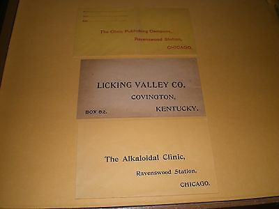 3 Old Envelopes Cover Advertising Alkaloid Clinic Chicago / Licking Valley KY