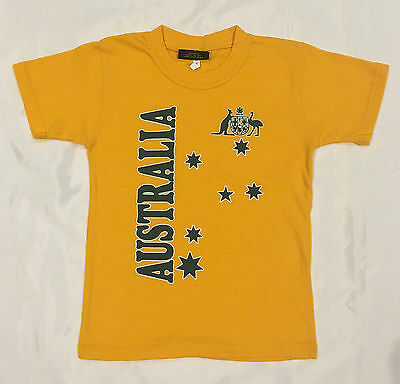 Kids Boys Girls Australian Day Australia Souvenir  T Shirt Children Tee Top Gold