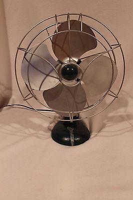 """Antique ARTIC AIRE 12"""" Electric Oscillating Fan Cast Iron Base Metal Blades"""