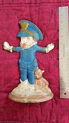 Hubley Antique Doorstop Of Usa Police Boy Badge Whistle Dog Cast Iron Statue