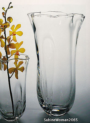 NEW in BOX STEUBEN glass TALL SEA WAVE VASE bowl crystal ornamental orchid rose