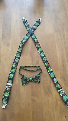 Ninja Turtle bow tie and suspender set. Free shipping