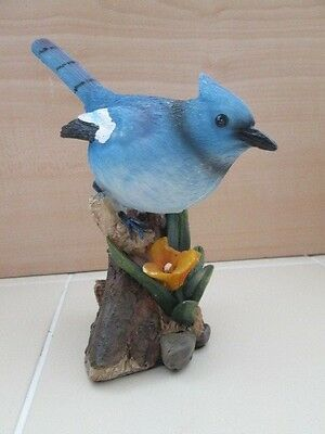Blue Jay Bird Pearched on Wood Stump Flower Hand Painted Art Figure
