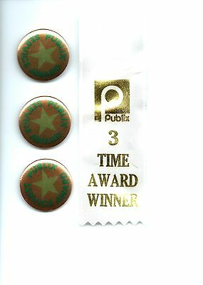 From The 70'S 3- Publix Service Award Buttons And Award Ribbon