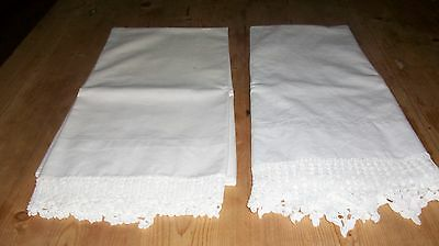 2 Crocheted vintage Pillow cases White 100% cotton.
