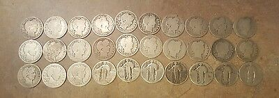 30 silver quarters barber and standing liberty