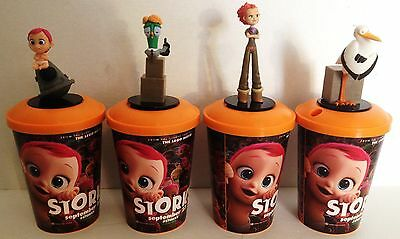 Storks Movie Theater Exclusive Cup Topper Set with 12 oz Cups New Unused