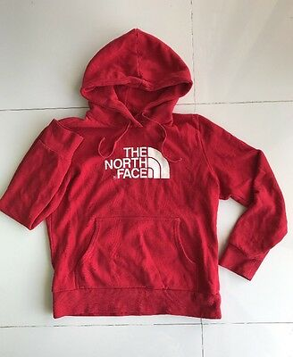 The North Face Women's Red White Longsleeve Pullover Hoodie Sweatshirt Size M