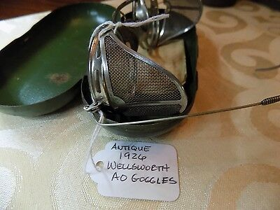 ANTIQUE Wellsworth EYEGLASSES Goggles WITH RECEIPT DATED 1926 & CASE Steam Punk!