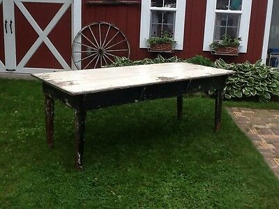 Vintage Antique Primitive Harvest Farmhouse Dinning Table