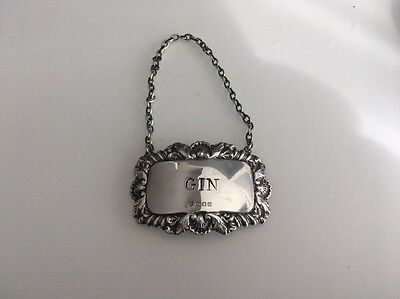 """Solid Sterling Silver Vintage GIN Decanter Label """" DJ. STERLING REPAIRS """" London"""