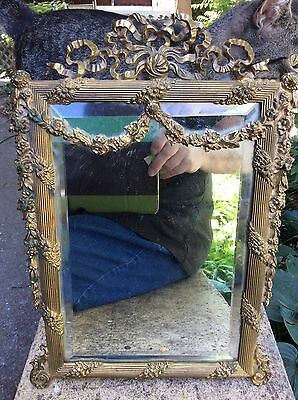 "Antique Brass Mirror Beveled Glass Tin Back 13"" T x 9"" W"