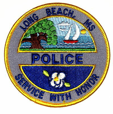 LONG BEACH MISSISSIPPI MS Police Patch MAGNOLIA FLOWER SAILBOAT RIVER VINTAGE OL