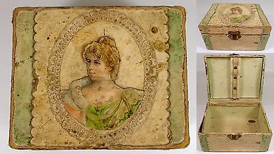 """5"""" Antique Victorian Embossed Woman Lady Paper Die Cut Wood Dresser Jewelry Box"""